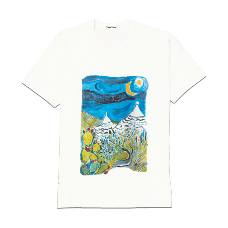Carla Caroli T-Shirt in cotone dipinta a mano CCT11 CCT11-1 Trullo Notte Taglia Bambino fino a 12 anni