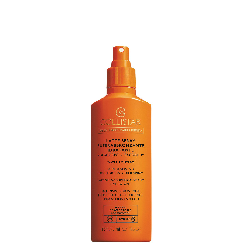 Collistar latte spray superabbronzante idratante viso e corpo water resistant spf 6 200 ML