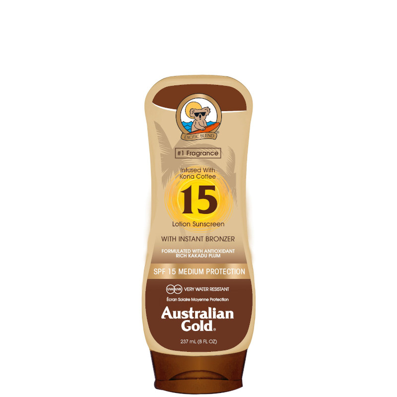Australian Gold Lotion Sunscreen SPF 15 con Kona Coffee ed effetto Bronze 237 ML