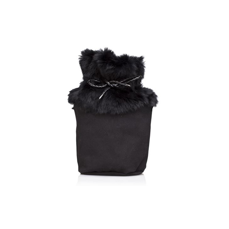 O Bag Canvas O Bag Basket Con Pelliccia Nero Cod 12120