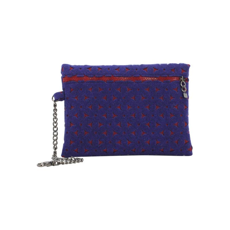 o bag pochette feltro bordeaux blu cod 18141. Black Bedroom Furniture Sets. Home Design Ideas